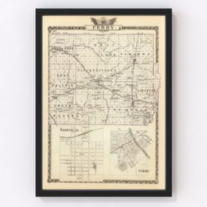 Vintage Map of Perry County Illinois, 1876
