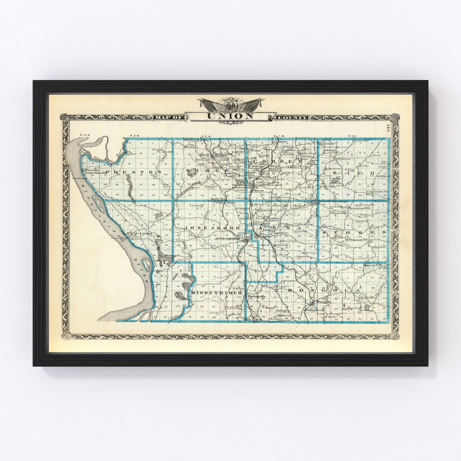 Vintage Map of Union County Illinois, 1876