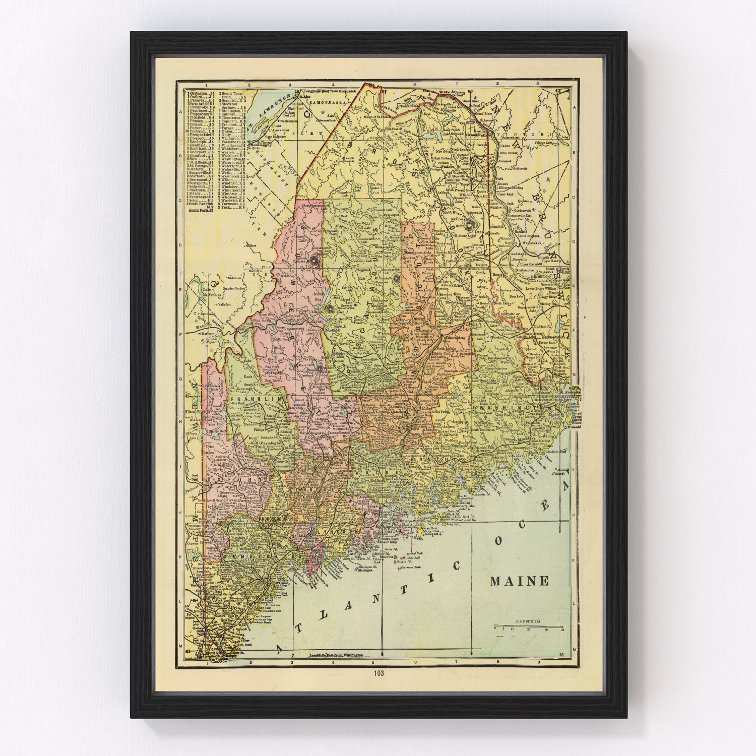 Vintage Map of Maine, 1909