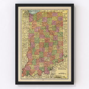 Vintage Map of Indiana, 1909