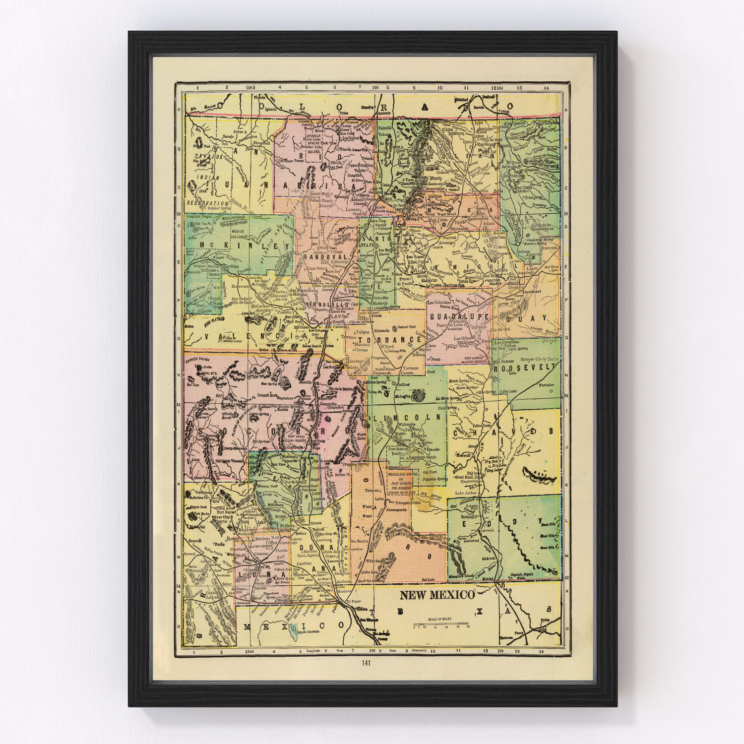 Vintage Map of New Mexico, 1909