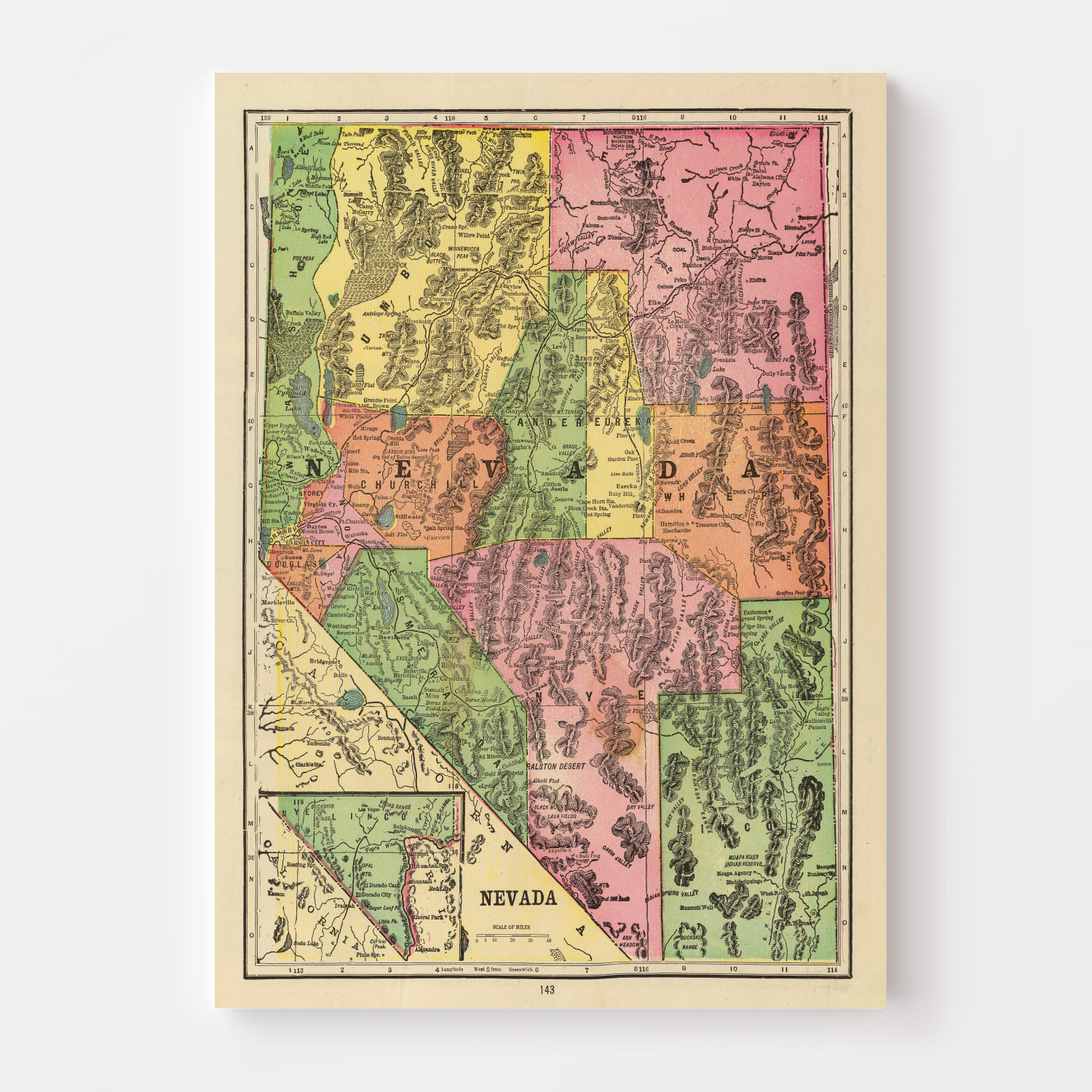 Vintage Map of Nevada, 1909