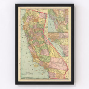 Vintage Map of California, 1909