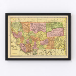 Vintage Map of Montana, 1909