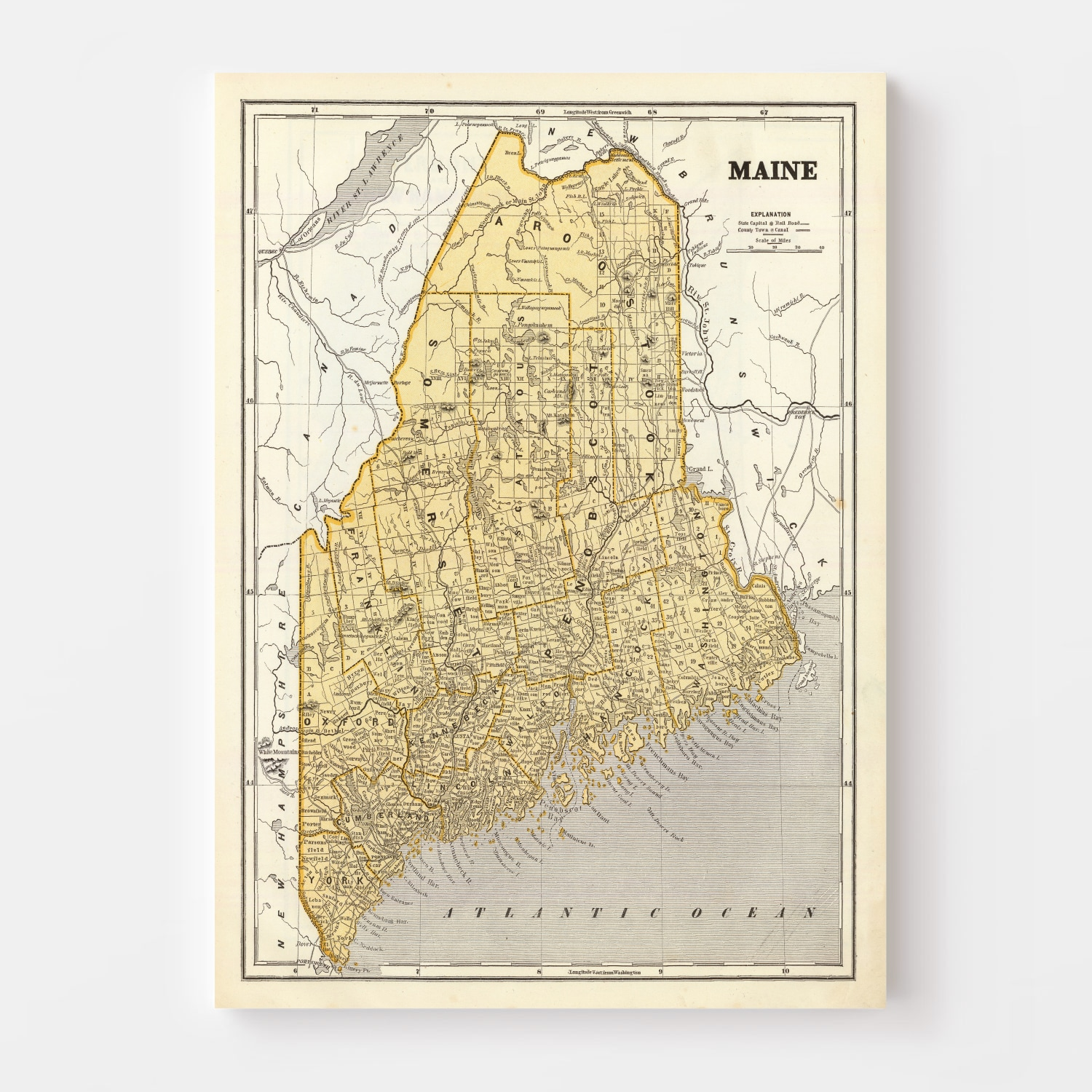 Vintage Map of Maine, 1842