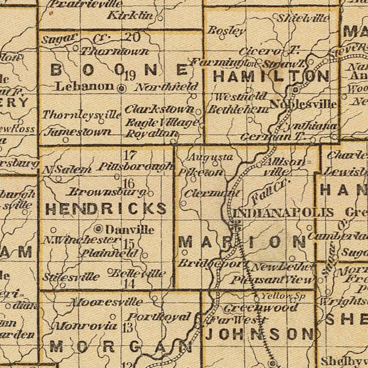 Vintage Map of Indiana, 1842