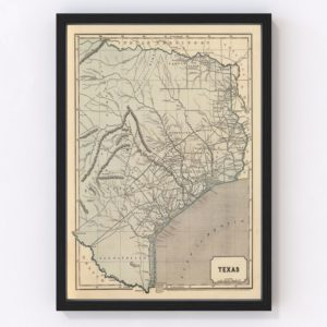 Vintage Map of Texas, 1842