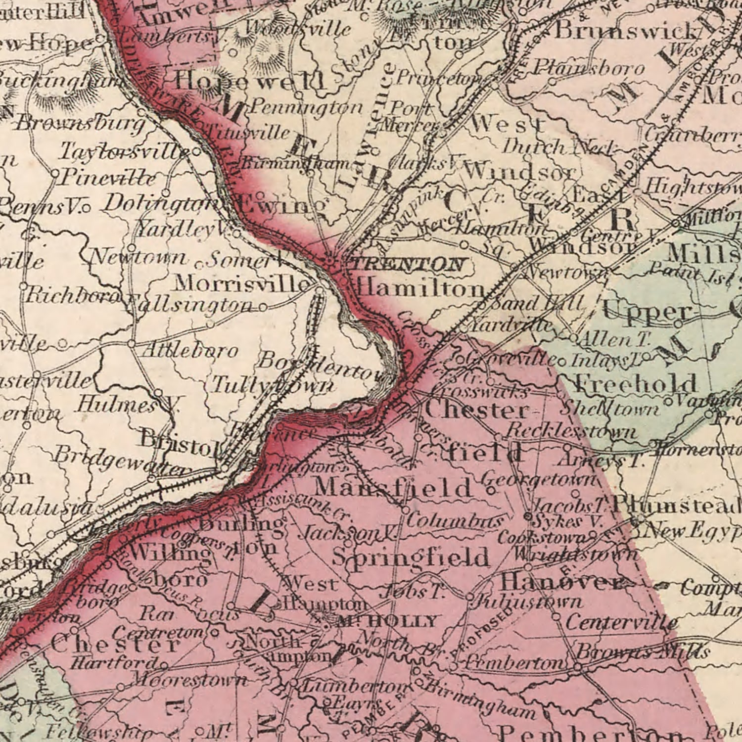 Vintage Map of New Jersey, 1861