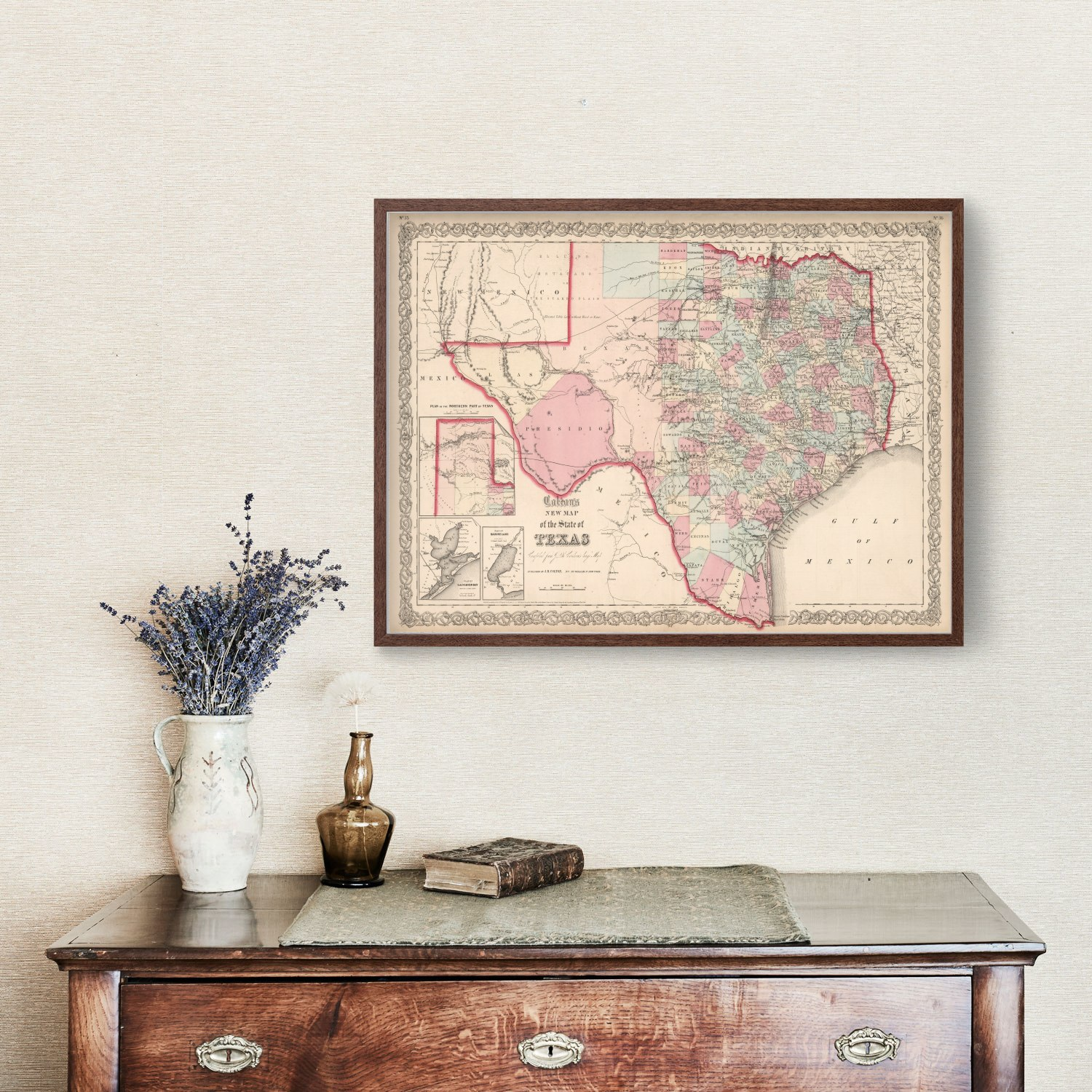 Vintage Map of Texas, 1861