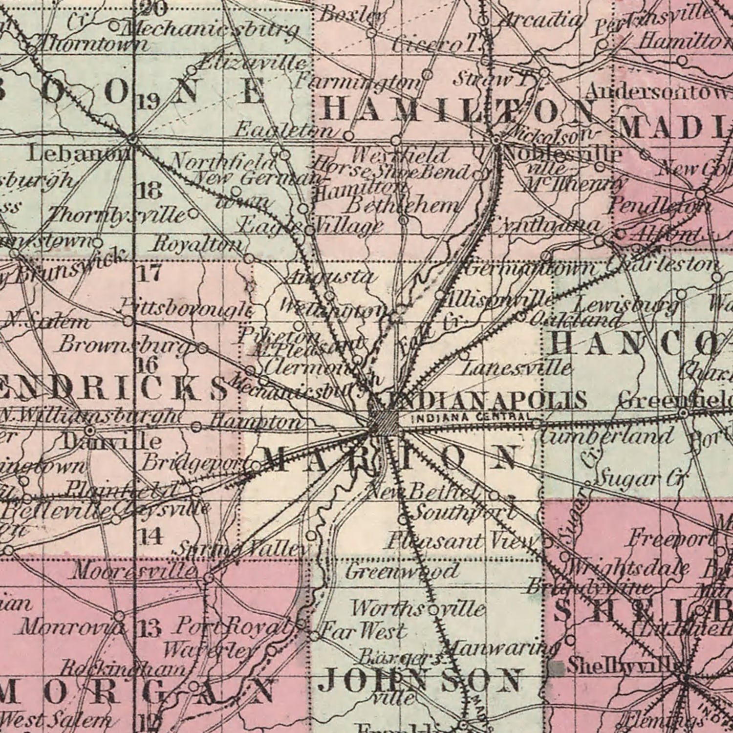 Vintage Map of Indiana, 1861