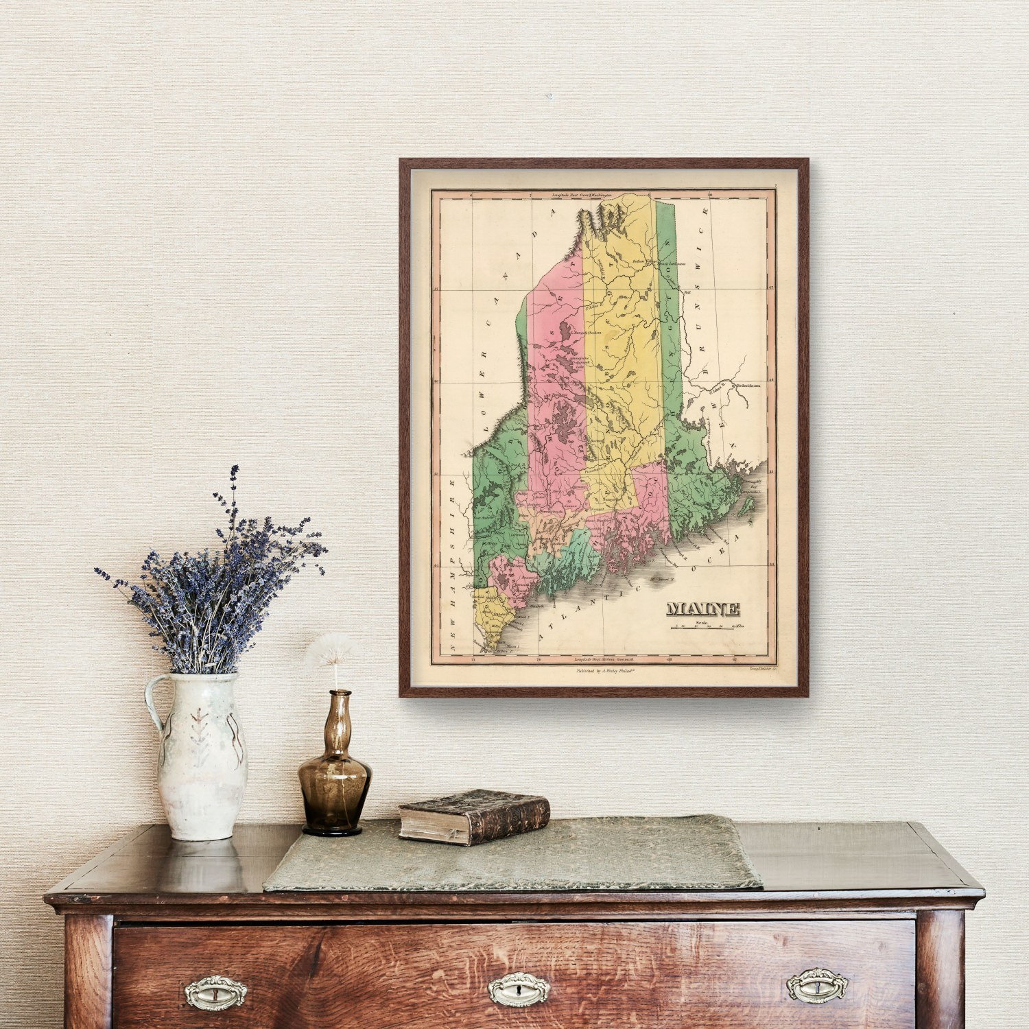 Vintage Map of Maine, 1824