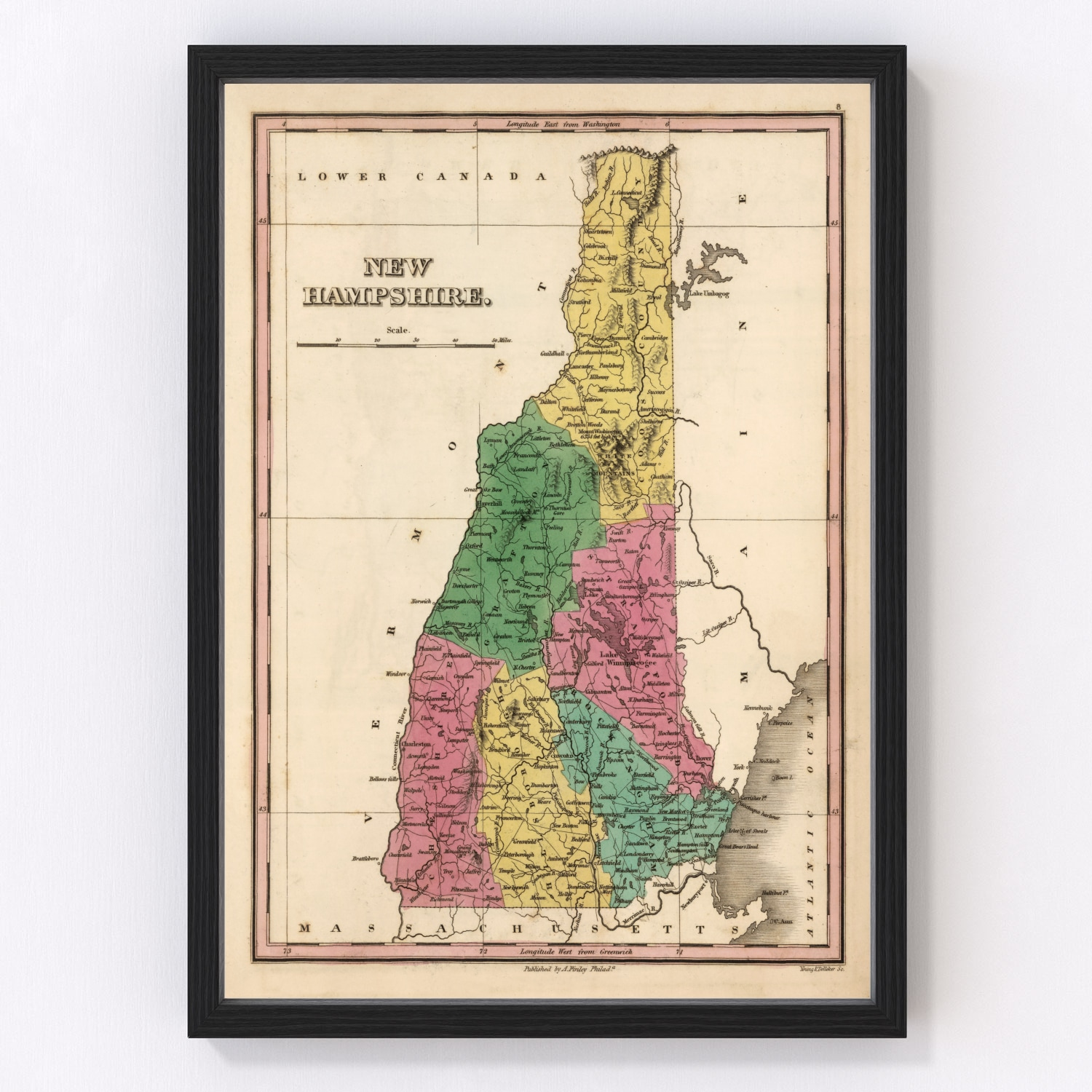 Vintage Map of New Hampshire, 1824