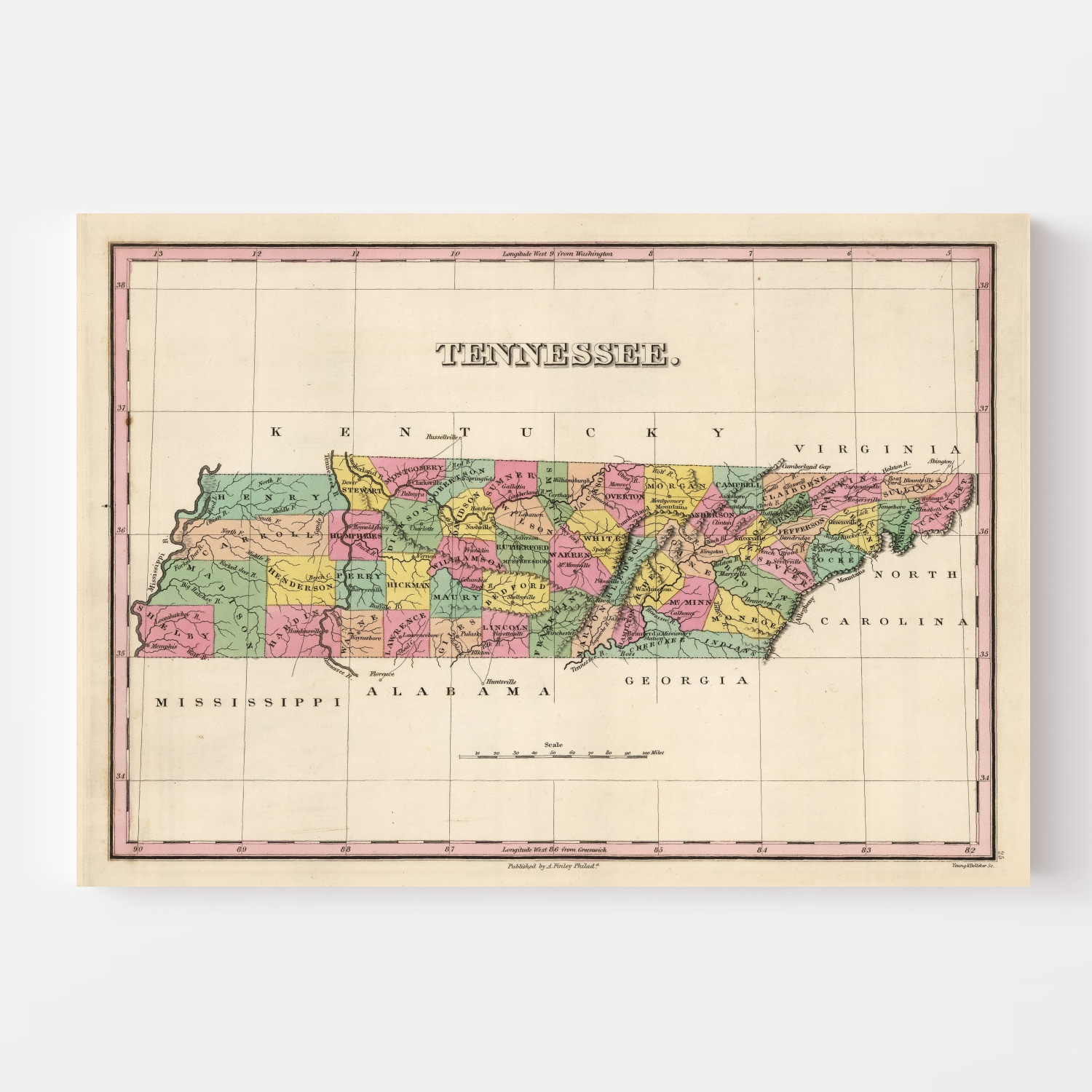 Vintage Map of Tennessee, 1824