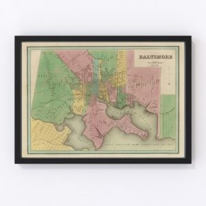 Vintage Map of Baltimore, Maryland 1838