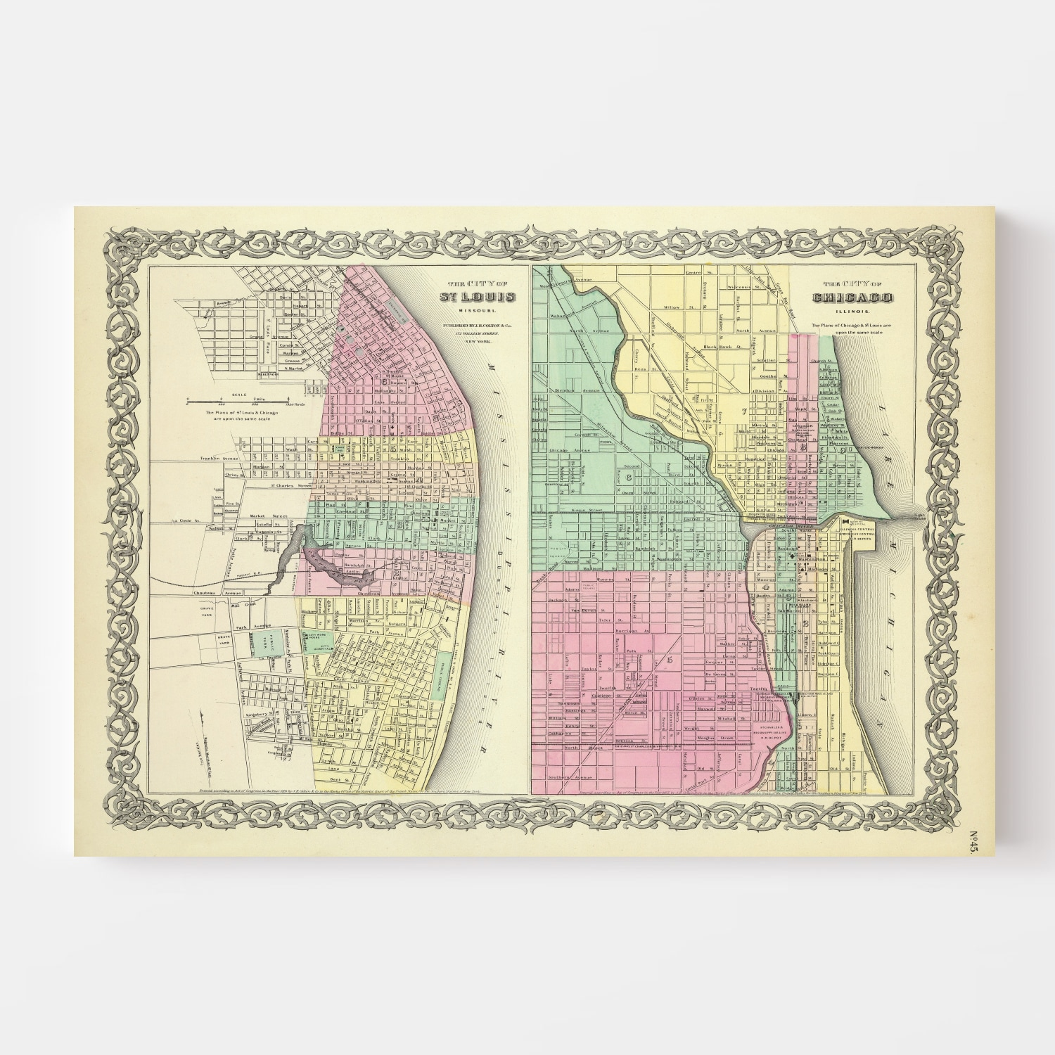 Vintage Map of Chicago, Illinois 1856