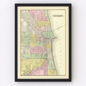 Vintage Map of Chicago, Illinois 1890