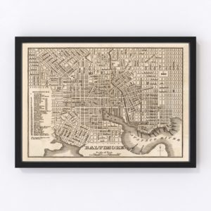 Vintage Map of Baltimore, Maryland 1844