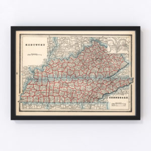 Vintage Map of Kentucky, 1893