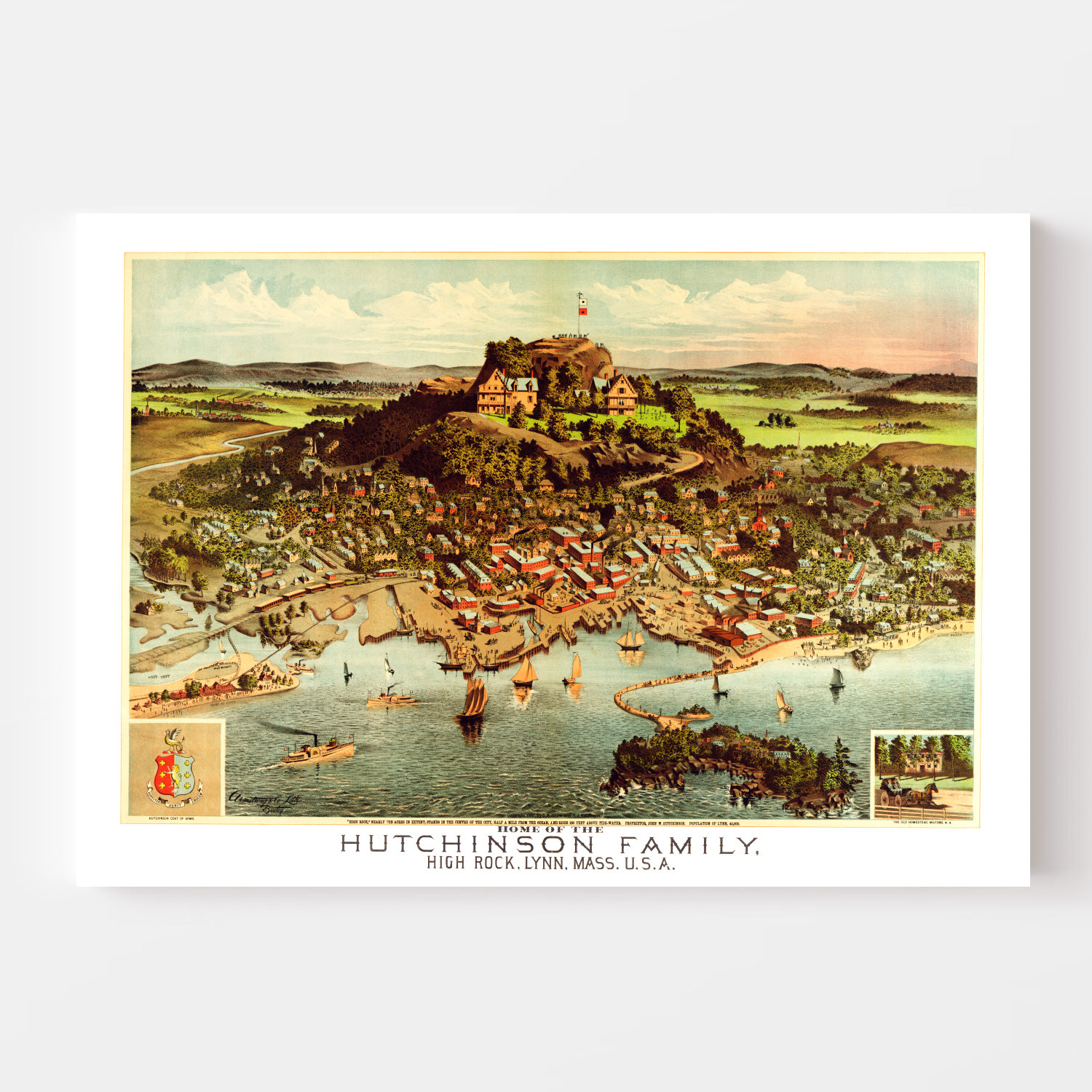 Vintage Map of Hutchinson Family Home (High Rock), Massachusetts 1881