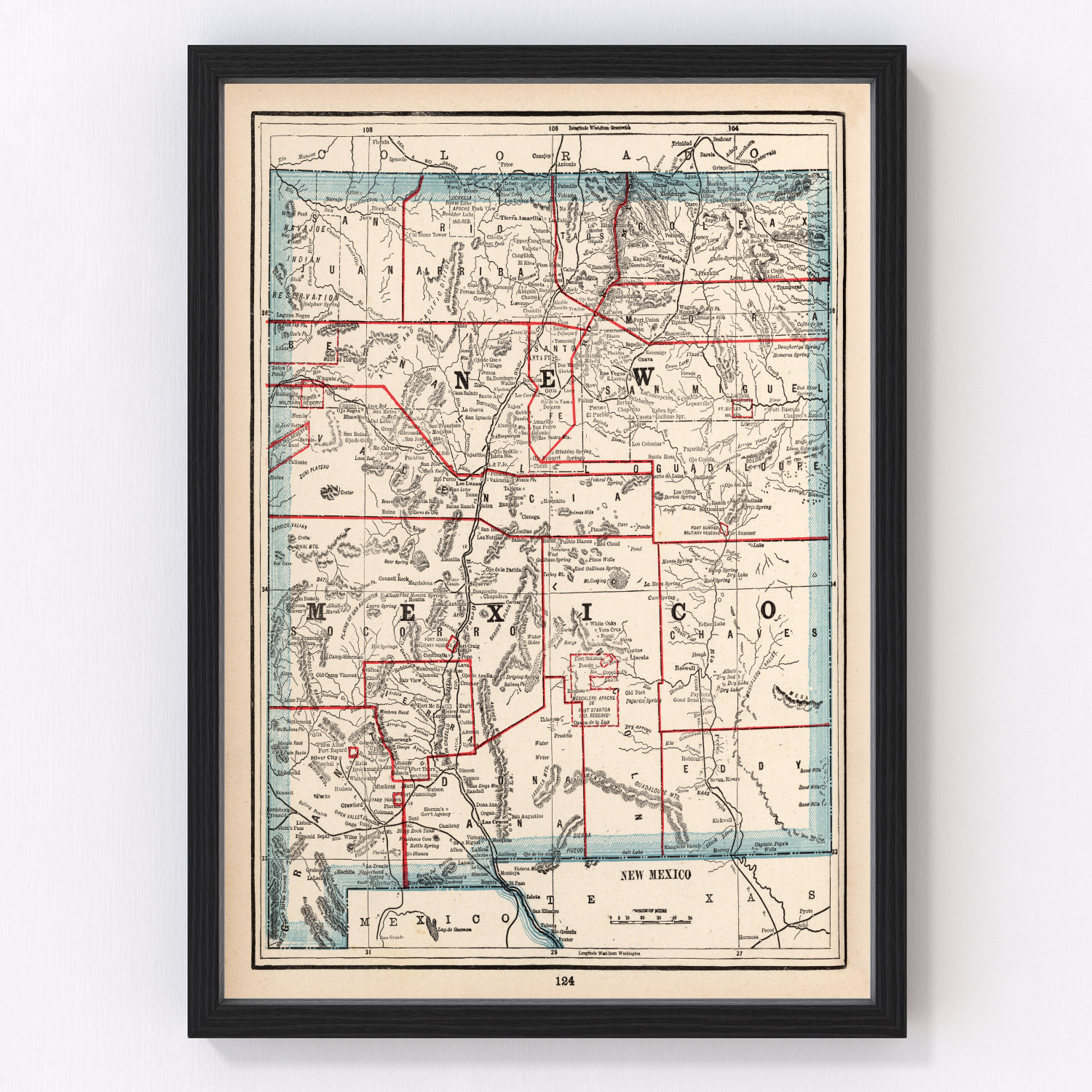 Vintage Map of New Mexico, 1893