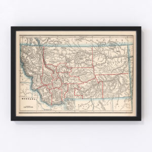 Vintage Map of Montana, 1893