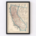 Vintage Map of California, 1893