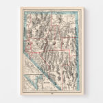 Vintage Map of Nevada, 1893