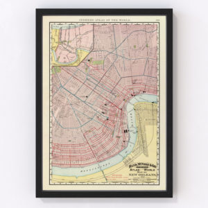 Vintage Map of New Orleans, Louisiana 1897