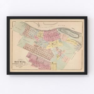 Vintage Map of Red Wing, Minnesota 1874