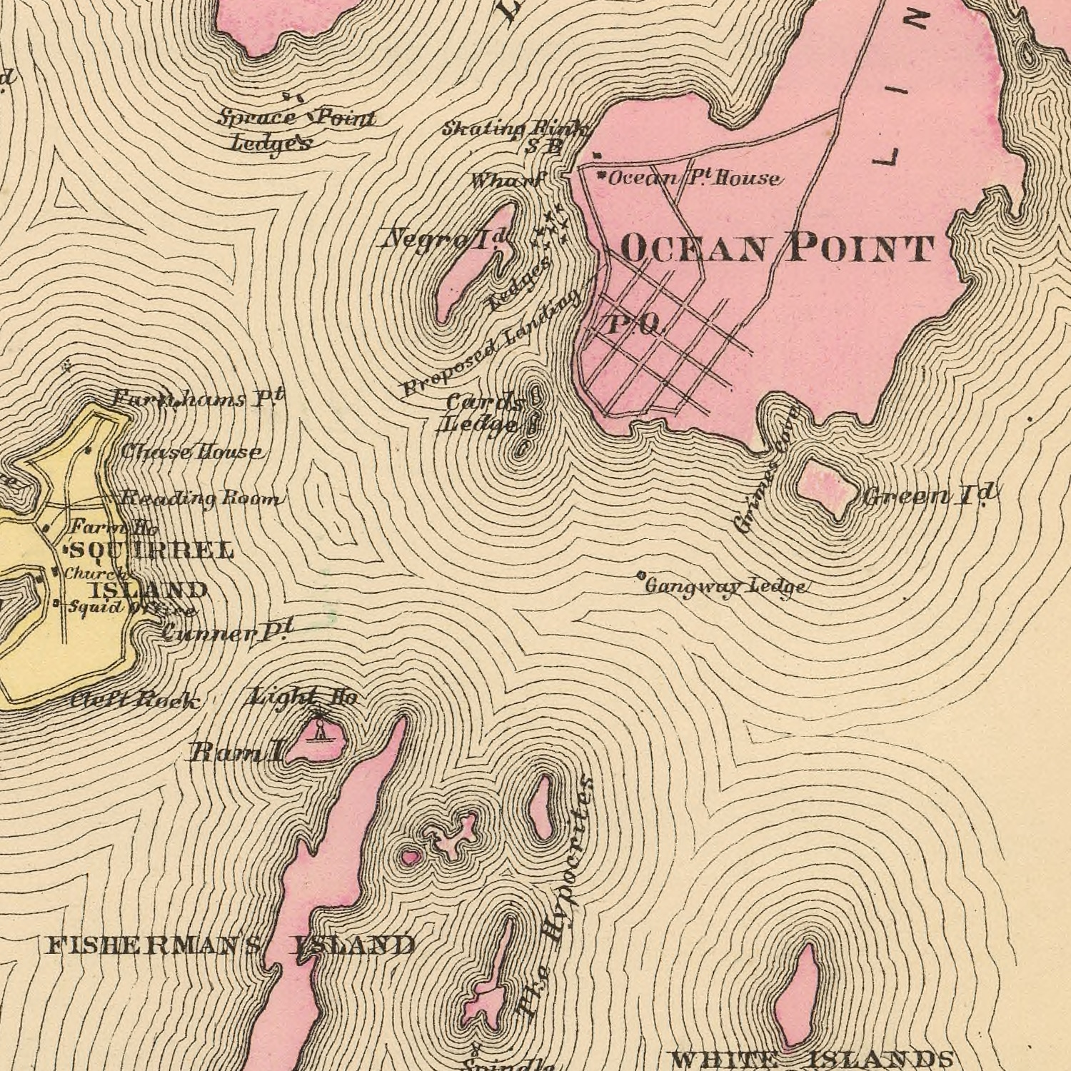 Vintage Map of Boothbay, Maine 1894