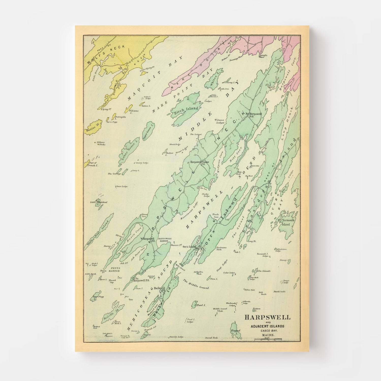 Vintage Map of Harpswell, Maine 1894