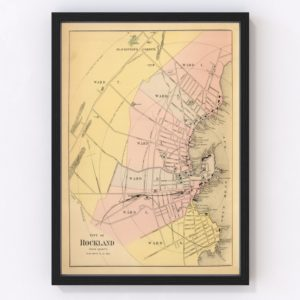 Vintage Map of Rockland, Maine 1894