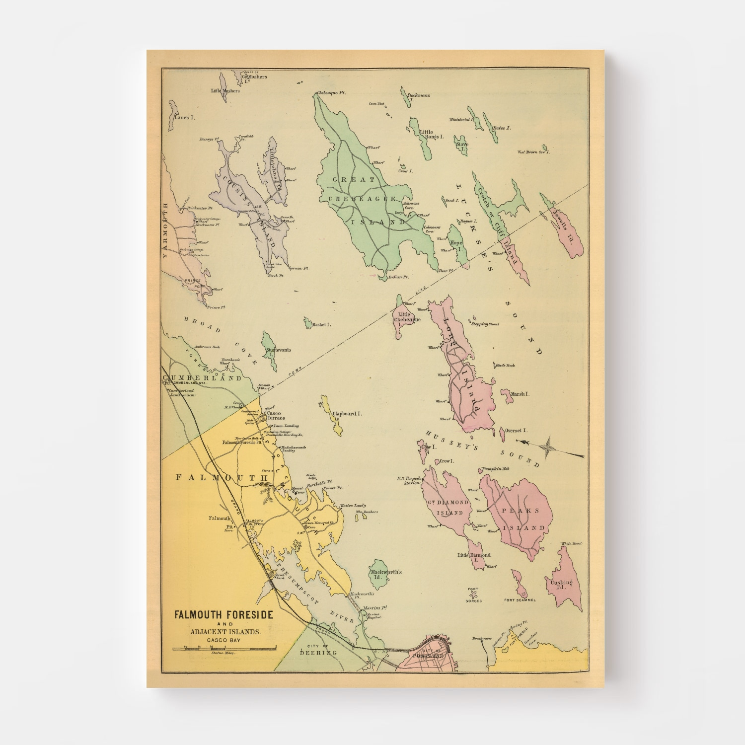 Vintage Map of Falmouth Foreside, Maine 1894