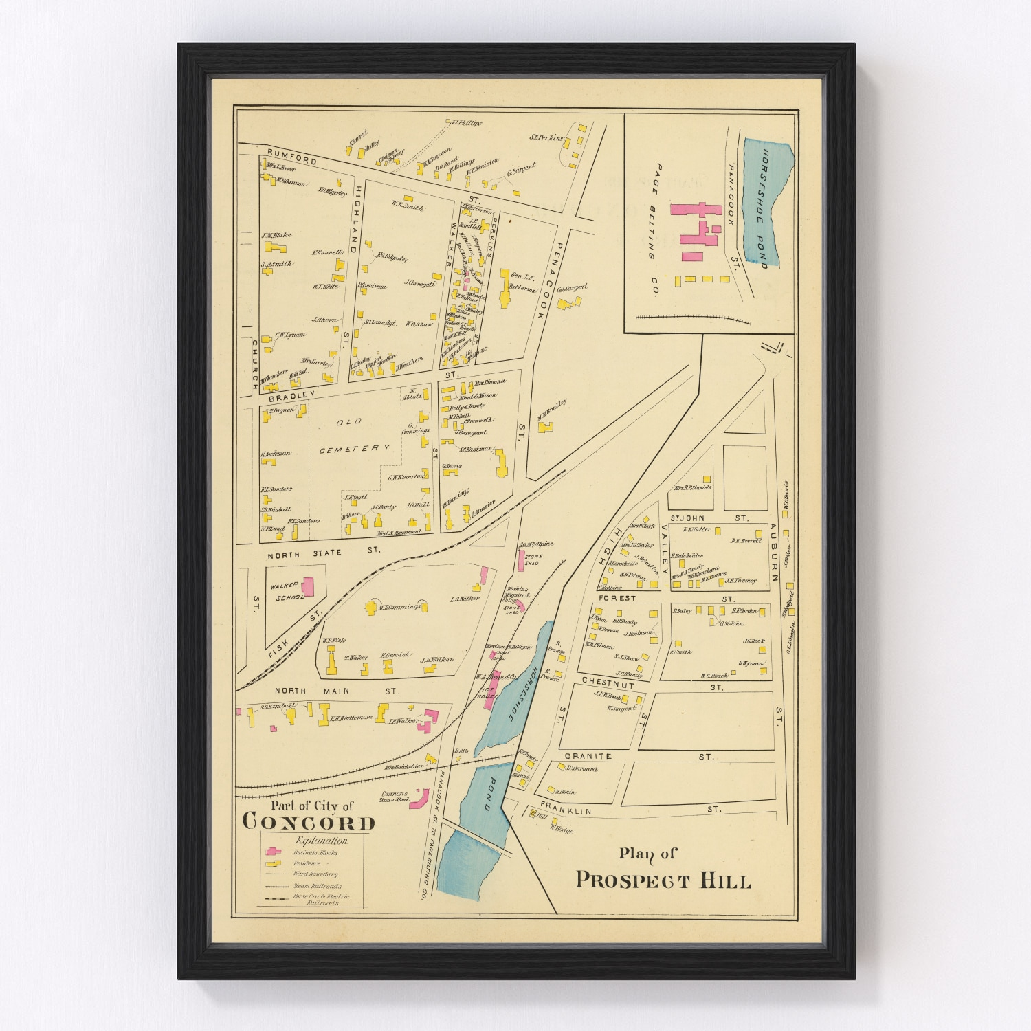 Vintage Map of Concord, New Hampshire 1892