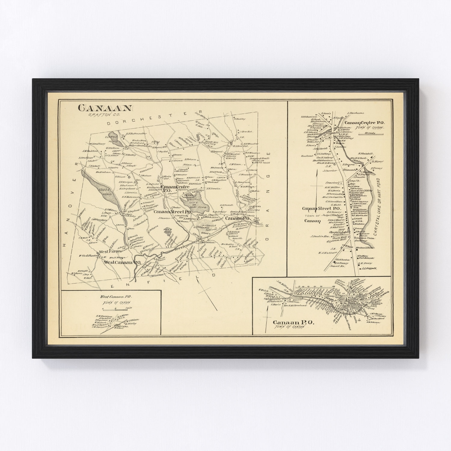 Vintage Map of Canaan, New Hampshire 1892