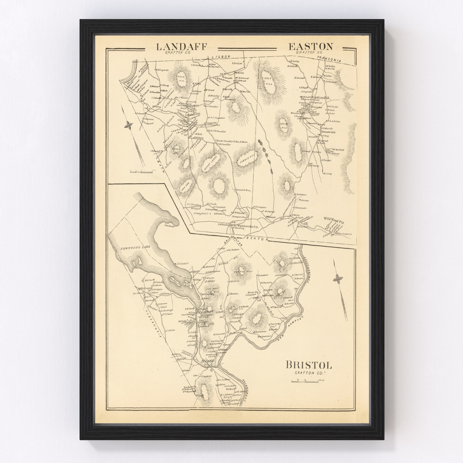 Vintage Map of Easton, New Hampshire 1892