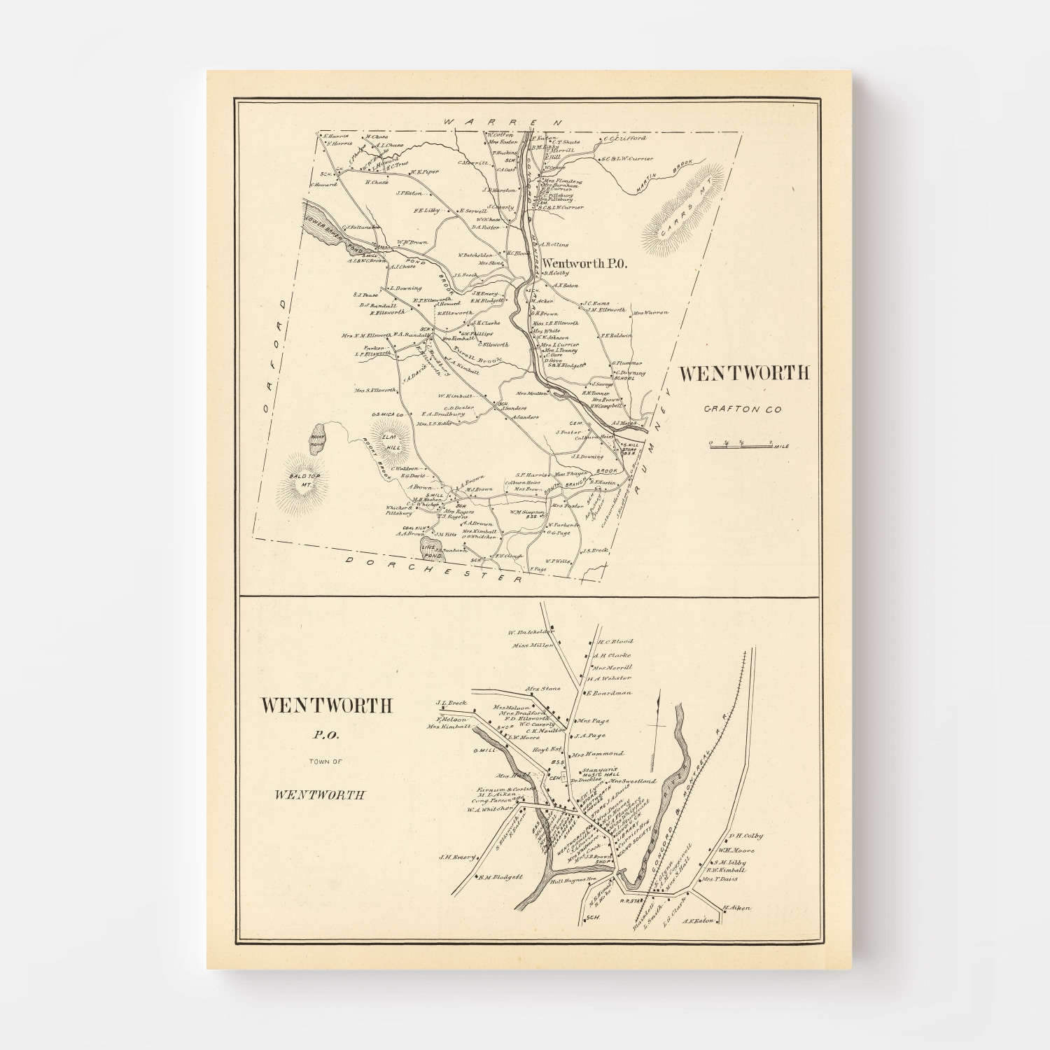 Vintage Map of Wentworth, New Hampshire 1892