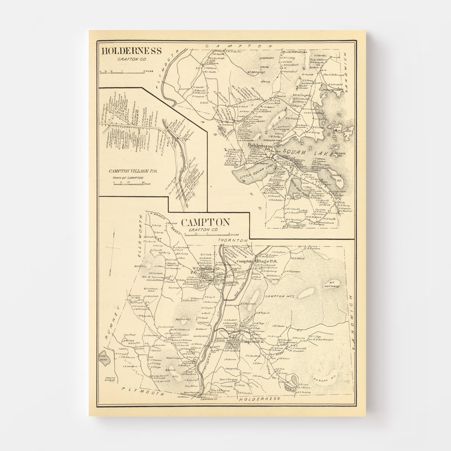 Vintage Map of Campton, New Hampshire 1892