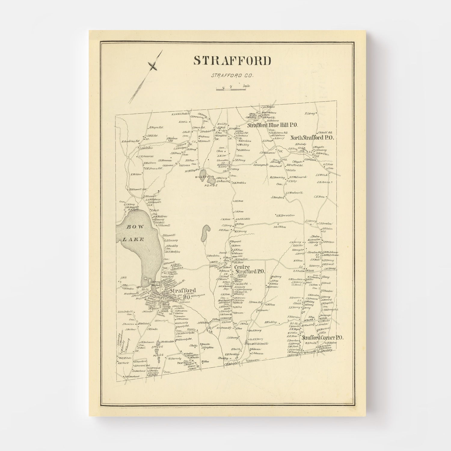Vintage Map of Strafford, New Hampshire 1892
