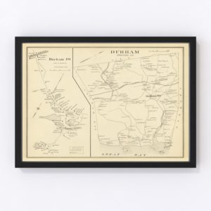 Vintage Map of Durham, New Hampshire 1892