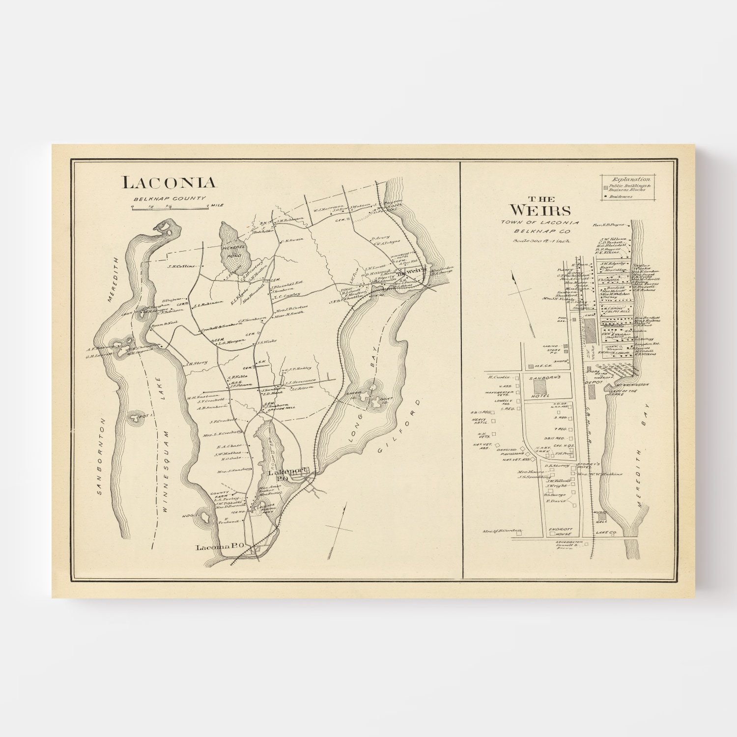 Vintage Map of Laconia, New Hampshire 1892