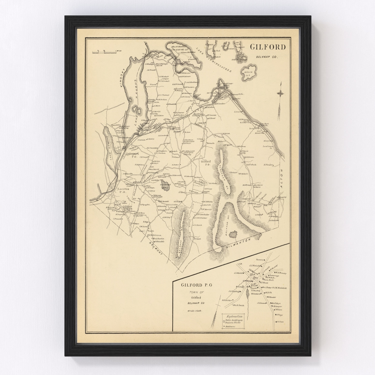 Vintage Map of Gilford, New Hampshire 1892