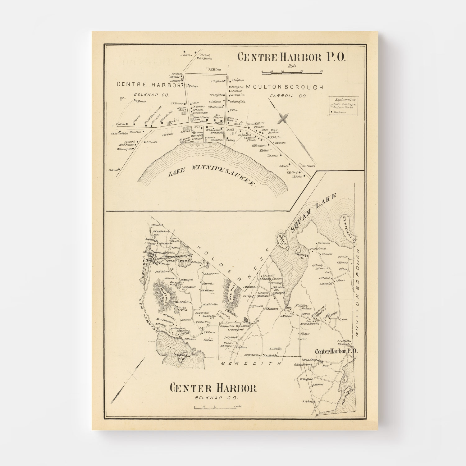 Vintage Map of Center Harbor, New Hampshire 1892