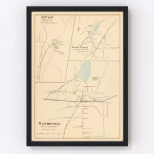 Vintage Map of Manchester, Connecticut 1893