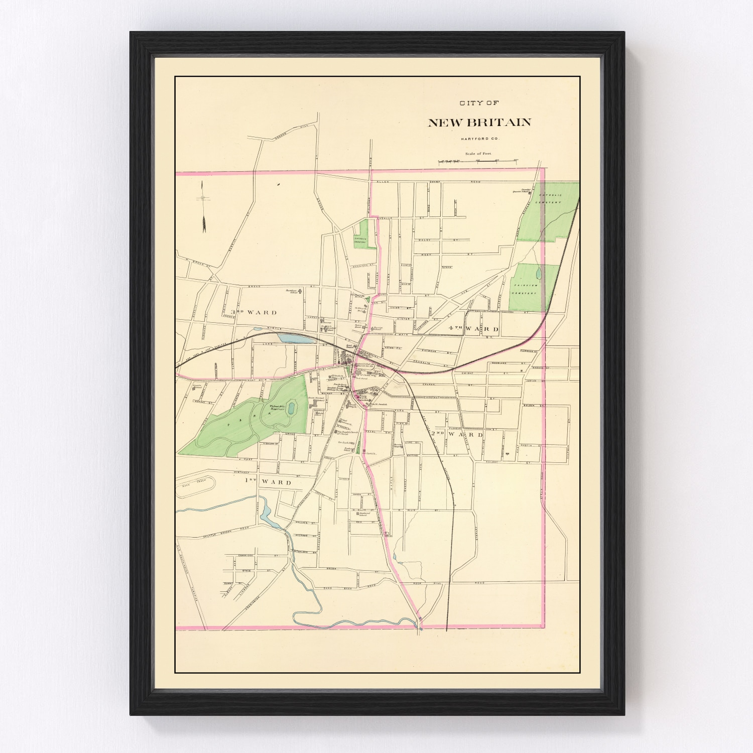 Vintage Map of New Britain, Connecticut 1893
