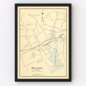 Vintage Map of Milford, Connecticut 1893