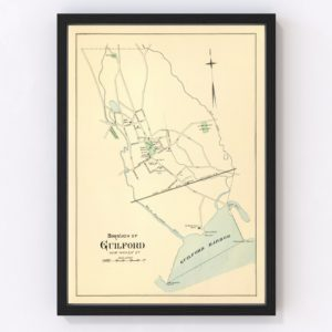 Vintage Map of Guilford, Connecticut 1893