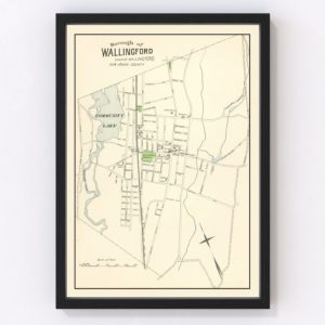 Vintage Map of Wallingford, Connecticut 1893