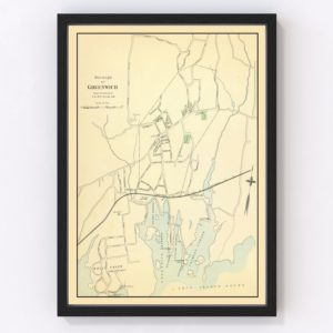 Vintage Map of Greenwich, Connecticut 1893
