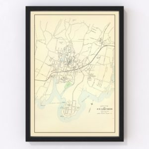 Vintage Map of Stamford, Connecticut 1893